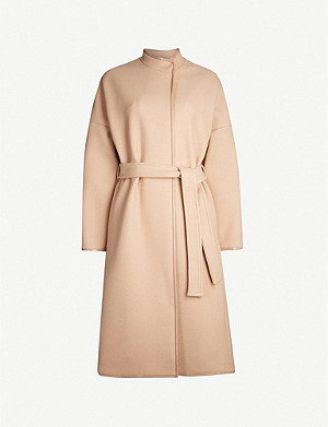 PINKO Sognare patent-trim wool-blend coat