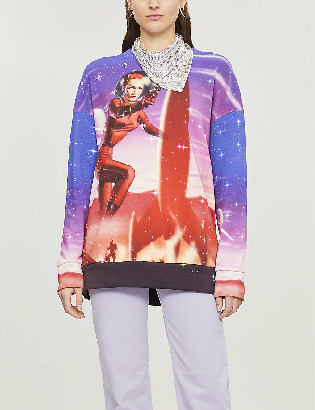 PINKO: Photograph space-print cotton-jersey sweatshirt