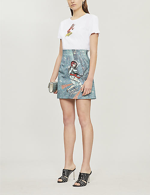 PINKO Oroscopo space-print cotton-jersey T-shirt
