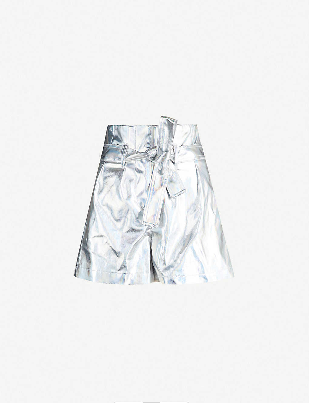 PINKO: Laminated cotton-blend shorts
