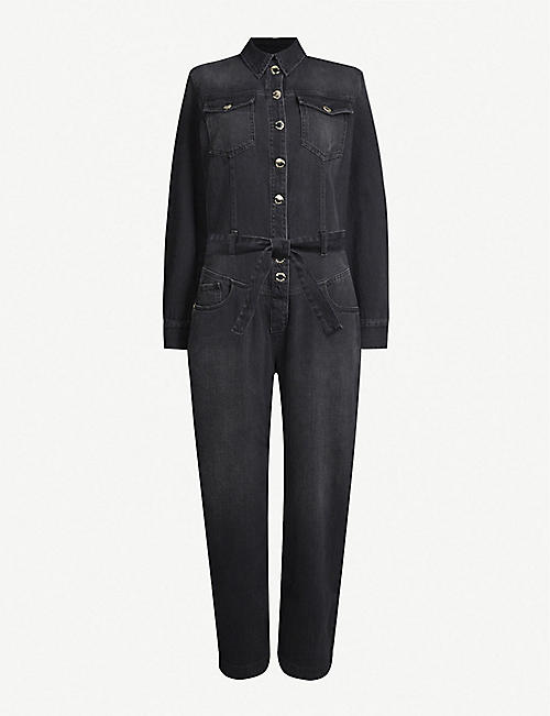 PINKO: Pax wide-leg denim jumpsuit