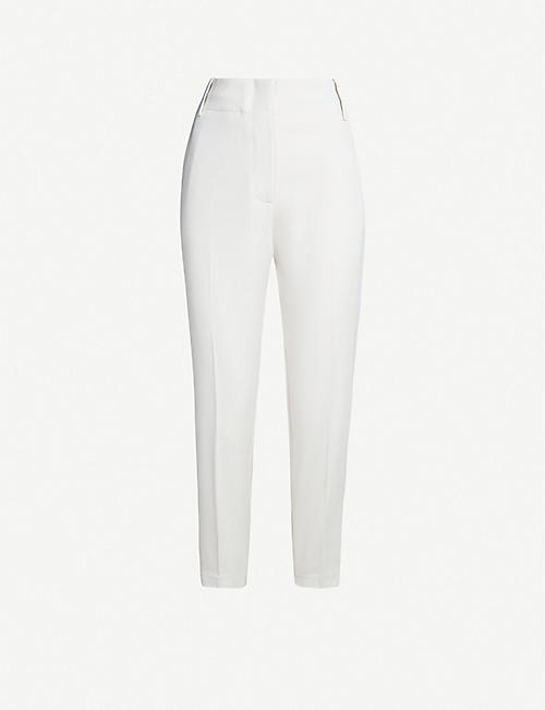 PINKO: Frullato cropped high-rise tapered crepe trousers