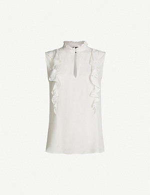 PINKO Frappe ruffled-trim silk-blend blouse