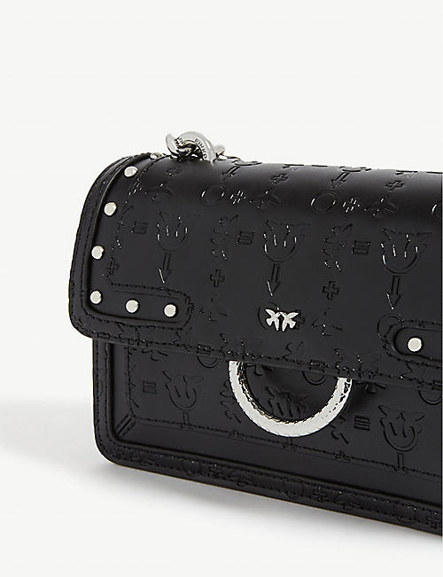 PINKO Love monogram mini leather shoulder bag