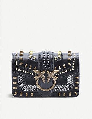 PINKO: Love Mix embellished leather shoulder bag