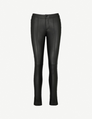 FOREVER UNIQUE High-rise skinny faux-leather trousers