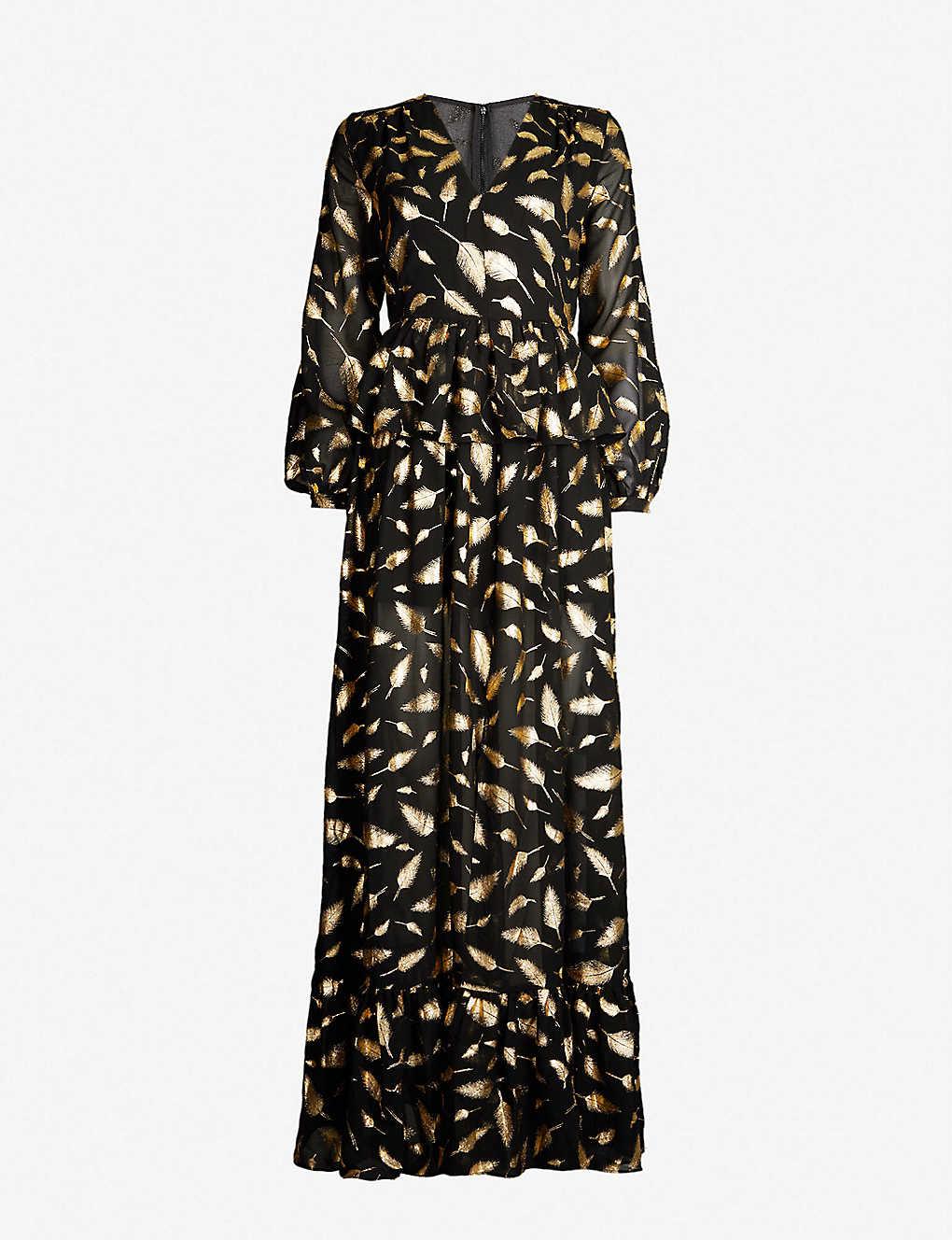 41d1303c4fe9 FOREVER UNIQUE - Metallic gold leaf print maxi dress | Selfridges.com