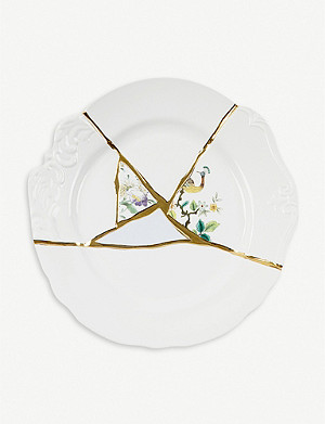 SELETTI Kintsugi N2 porcelain and 24ct gold dinner plate 27cm