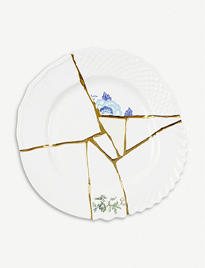 SELETTI Kintsugi N3 porcelain and 24ct gold dinner plate 27cm