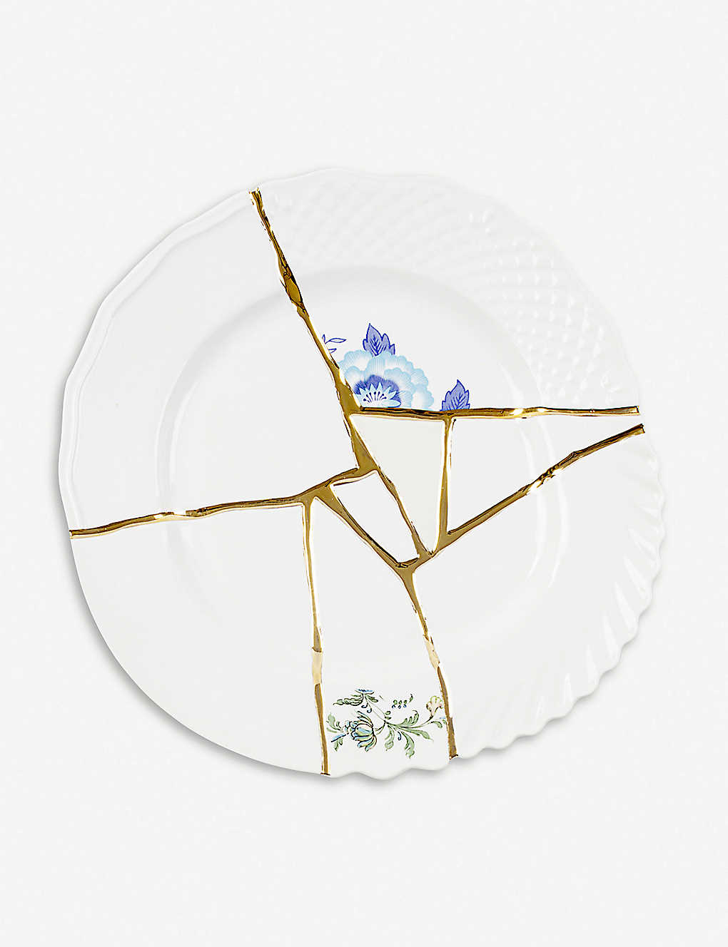 SELETTI: Kintsugi N3 porcelain and 24ct gold dinner plate 27cm