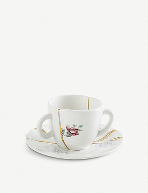 SELETTI Kintsugi N1 porcelain coffee cup and saucer