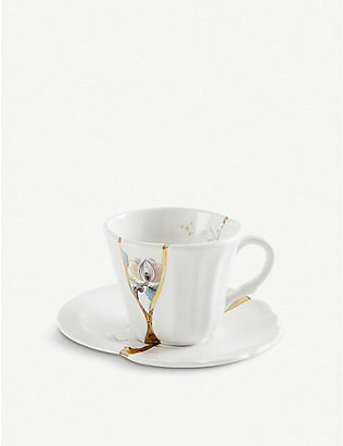 SELETTI: Kintsugi N3 coffee cup with saucer in porcelain