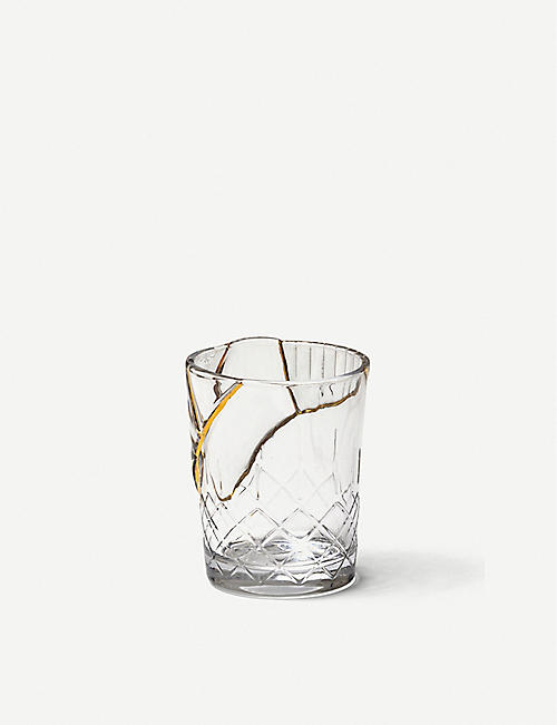 SELETTI: Kintsugi glass and gold tumbler