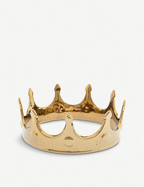 SELETTI: Crown gold-toned procelain ornament 18.5cm