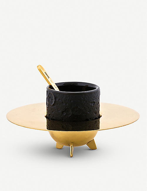 SELETTI: Seletti x Diesel Cosmic Dinner Lunar stonewear and brass coffee set