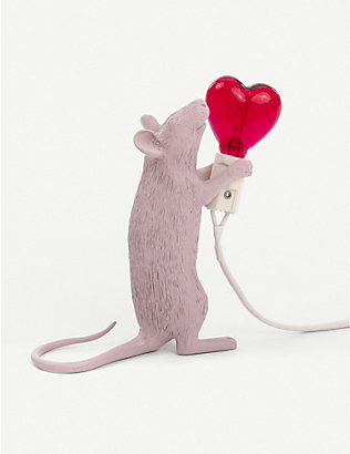 SELETTI: Heart-bulb resin mouse lamp 14.5cm