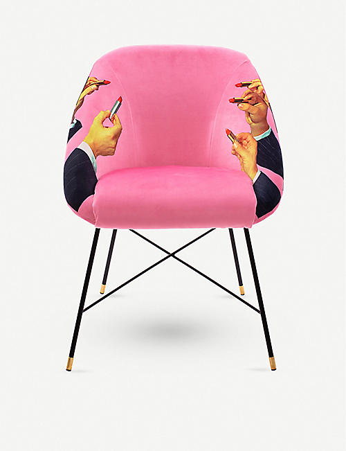 SELETTI: Toiletpaper lipstick-print wood and metal chair 86cm