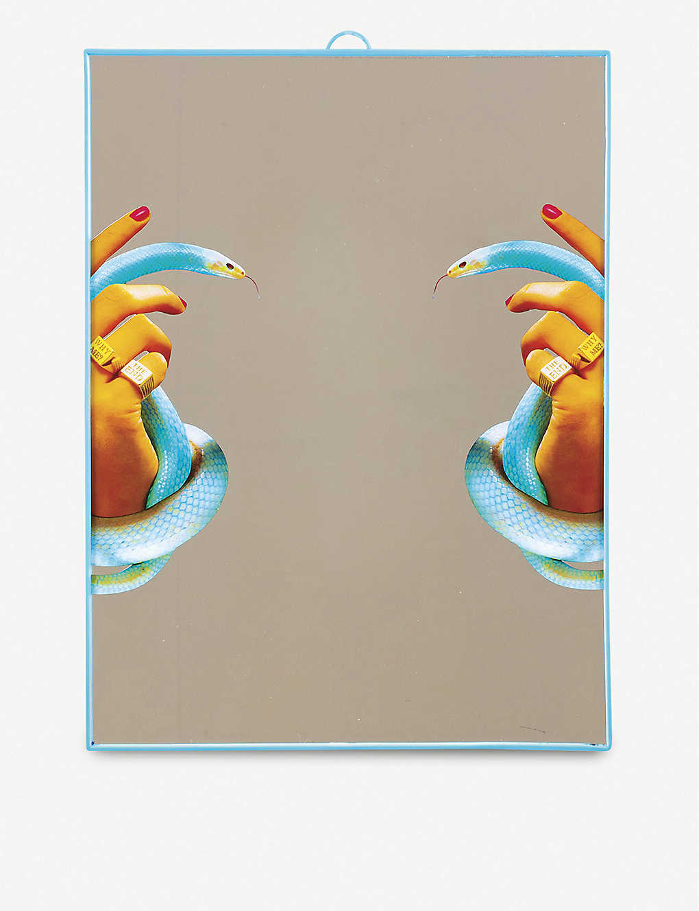SELETTI: Toiletpaper plastic and glass hands with snakes mirror
