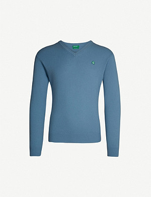 BENETTON Unisex V-neck wool-blend jumper