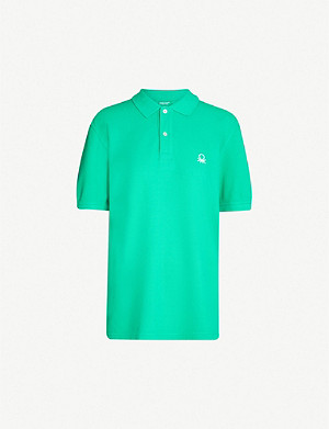 BENETTON Unisex logo-embroidered cotton-piqué polo shirt