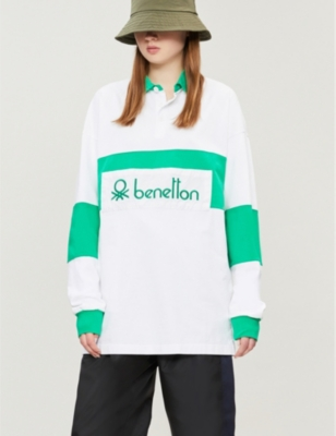 44d91527708 BENETTON - Unisex logo-embroidered cotton-jersey polo shirt ...
