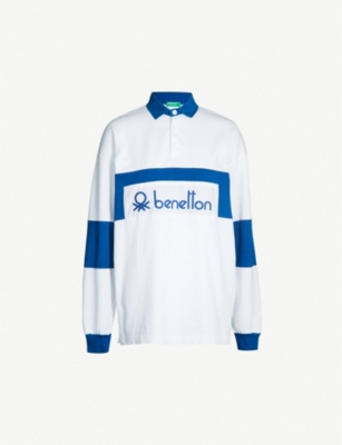 BENETTON Unisex logo-embroidered cotton-jersey polo shirt
