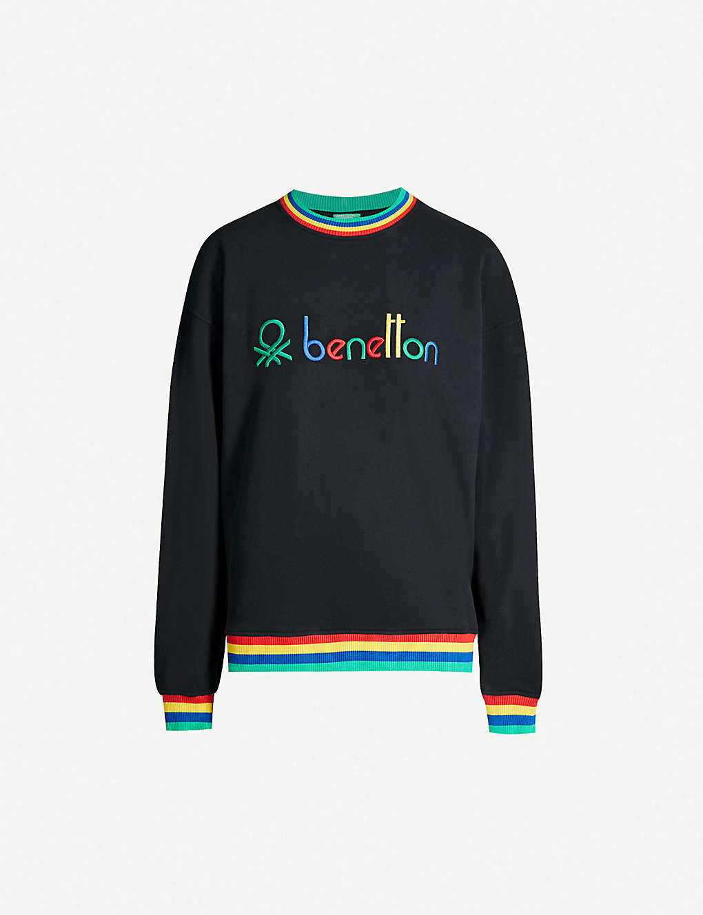 dab85aef14e BENETTON - Unisex rainbow logo-embroidered cotton-jersey sweatshirt ...
