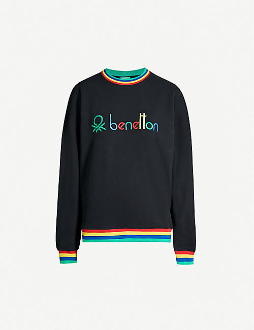 d1f4590cdfc1d BENETTON - Unisex rainbow logo-embroidered cotton-jersey sweatshirt ...