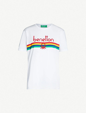 BENETTON Unisex logo-embroidered cotton-jersey T-shirt