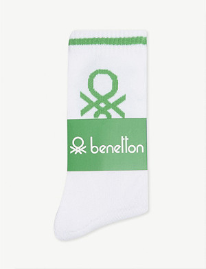 BENETTON Unisex logo knitted cotton-blend socks