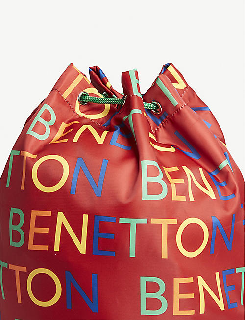 BENETTON Unisex logo nylon drawstring bag