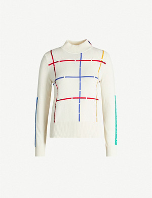 BENETTON Checked-pattern wool-blend jumper