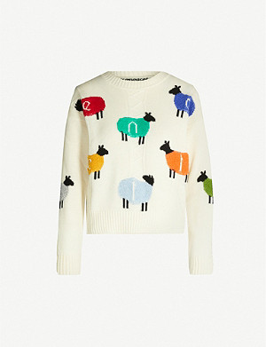 BENETTON Graphic-print wool-blend jumper