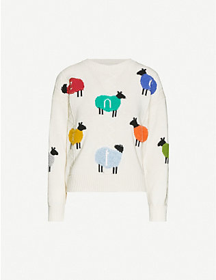 BENETTON: Sheep-print wool-blend jumper