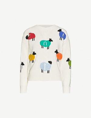 BENETTON Sheep-print wool-blend jumper