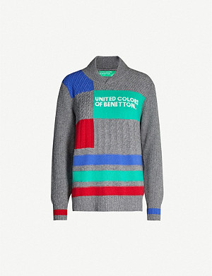 BENETTON Graphic-intarsia wool-blend jumper