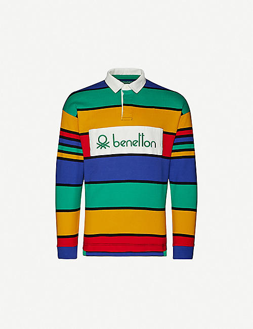 BENETTON: Striped brand-patch cotton-jersey polo top
