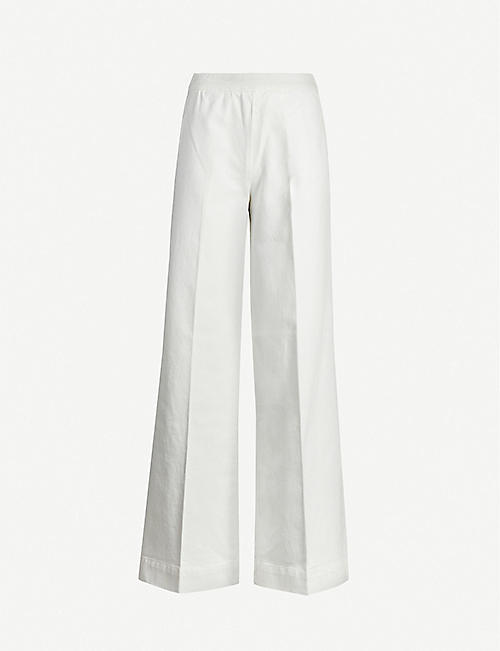 BENETTON Wide-leg high-rise cotton-twill trousers