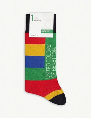BENETTON Logo striped cotton-blend socks