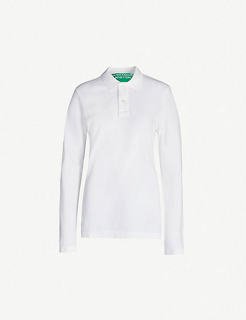 BENETTON Logo-embroidered cotton-jersey polo shirt