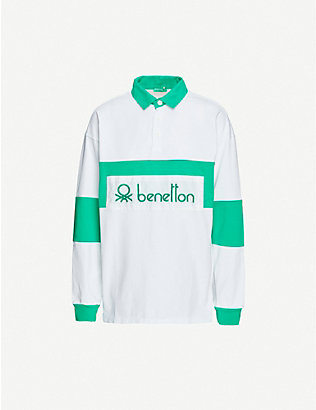 BENETTON: Logo-embroidered cotton polo shirt