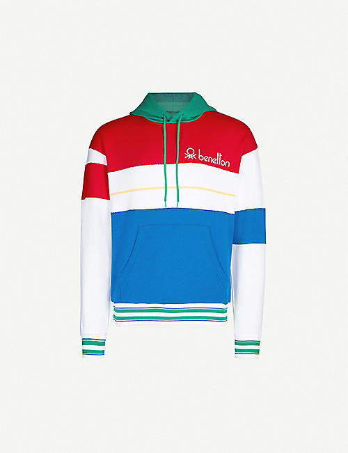 BENETTON Logo-embroidered striped cotton-jersey hoody