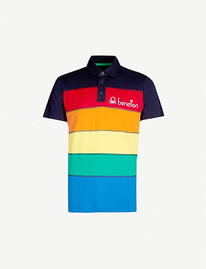 BENETTON Logo-embroidered striped cotton-jersey polo shirt