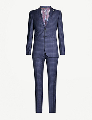 TED BAKER Checked modern-fit wool suit