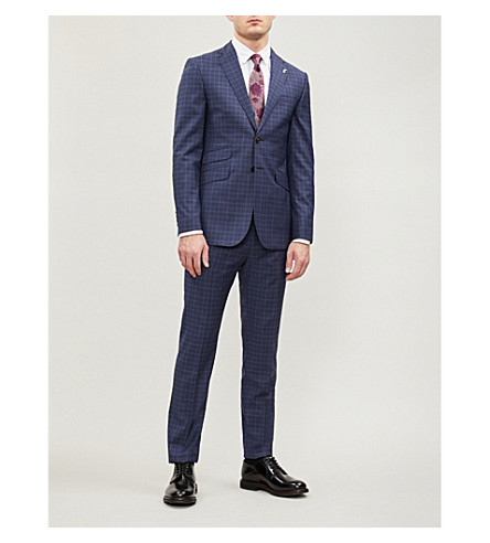d36fdab1aca9 TED BAKER Modern-fit tonal check two-piece wool suit (Blue