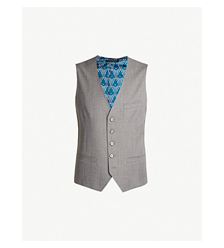 3dc6632d2e16 TED BAKER Debonair wool and satin vest (Light+grey