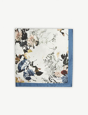 TED BAKER Romney floral-print silk pocket square