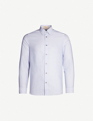 TED BAKER Striped modern-fit cotton and linen-blend shirt