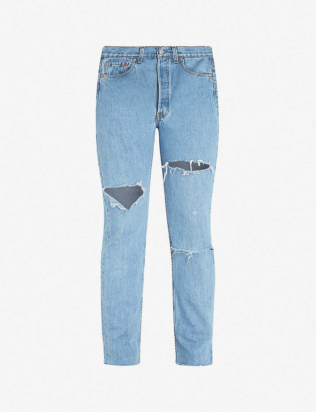 6fca3727 LEVIS VINTAGE - 501 regular-fit ripped straight-leg jeans | Selfridges.com
