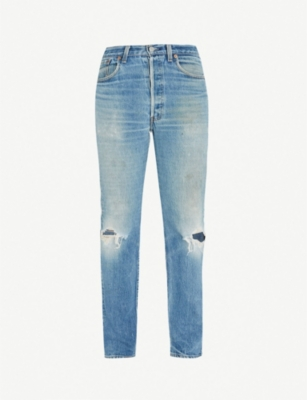 LEVIS VINTAGE 501 regular-fit ripped straight-leg jeans
